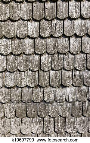 Stock Fotograf Alt Historisch Braun Holz Dach Fliesenmuster