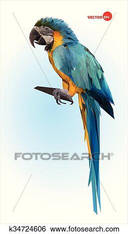 Hedendaags Blauwe, en, gele, papegaai, macaw., braziliaans, ara., groot, wild JF-44