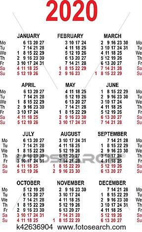 Clipart - calendrier, 2020, grille, template., isolé ...