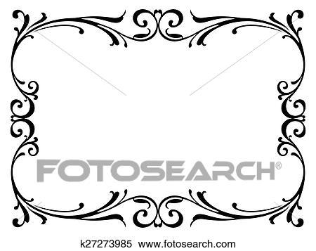 Clipart - caligrafía, caligrafía, rizado, barroco, marco, negro ...