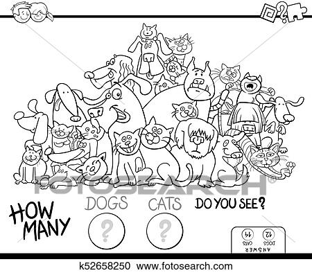 Counting cats and dogs game color book Clipart | k52658250 | Fotosearch