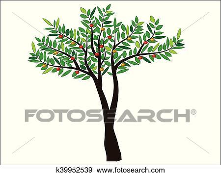 Green Apple Tree Full Of Red Apples Isolated Over White Clip Art