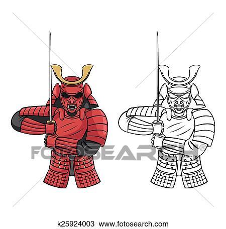 Clipart - libro colorear, samurai, carácter k25924003 - Buscar Clip ...