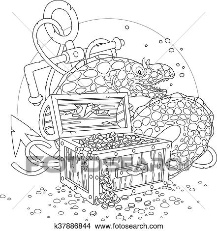clipart of moray and a treasure chest k37886844 search clip art