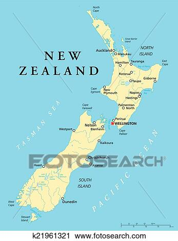 Political Map Of New Zealand.New Zealand Political Map Clipart K21961321 Fotosearch