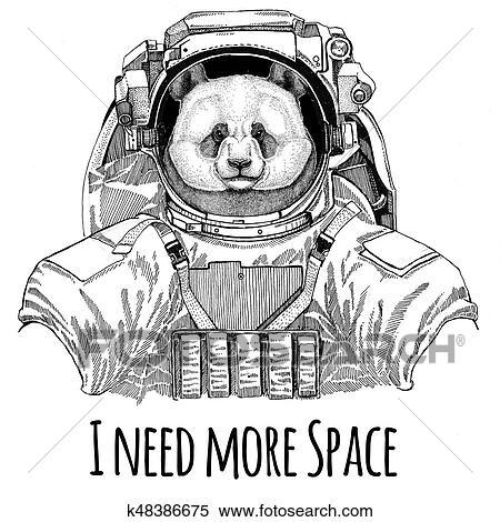 Panda bear, bamboo bear wearing space suit Wild animal astronaut Spaceman  Galaxy exploration Hand drawn illustration for t,shirt Stock Illustration