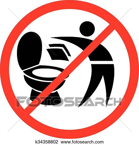 Clipart Of Please Do Not Throw Paper Towels In Toilet Sign K34358802