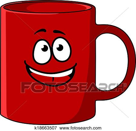 Clip Art Of Red Cartoon Coffee Mug With A Happy Face K18663507