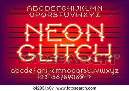 Red neon glitch typeface Clip Art