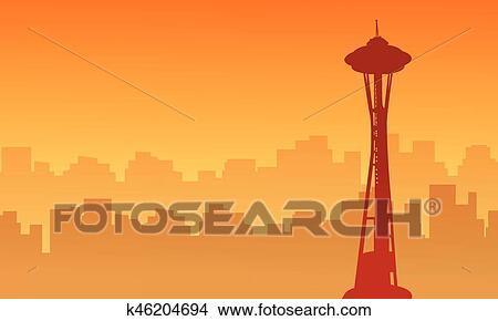 clipart of silhouette of seattle space needle tower scenery