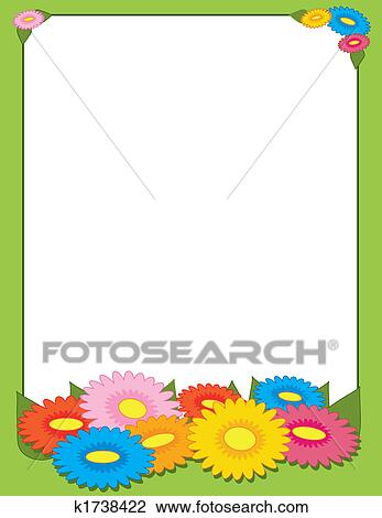 Clip Art Of Spring Flowers Border K1738422 Search Clipart