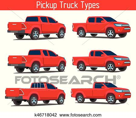 Truck Template | Clipart Of Truck Pickup Types Template Drawing K46718042 Search
