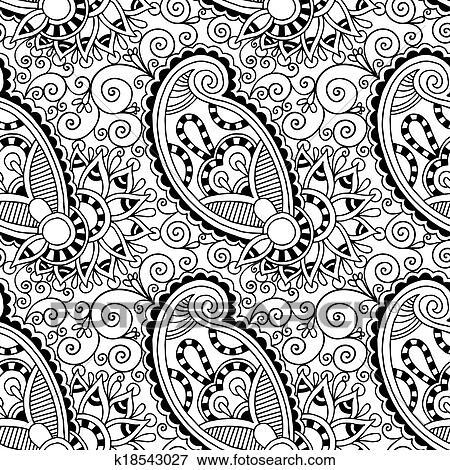 Clip Art Of Black And White Ornate Seamless Flower Paisley Design