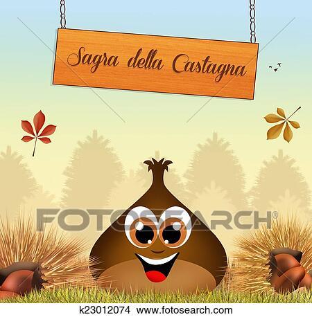 Disegni Castagne K23012074 Cerca Illustrazioni Clipart Poster