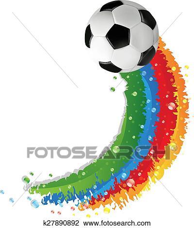 Fussball Ball Und Regenbogen Spur Clipart K27890892