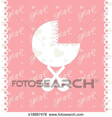 Clip art of greeting card of newborn baby girl vector eps 10 clip art greeting card of newborn baby girl vector eps 10 fotosearch m4hsunfo