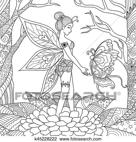 Clipart - hada, con, mariposa k45228222 - Buscar Clip Art ...