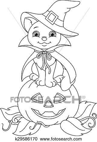 Halloween Cat Coloring Page Clipart