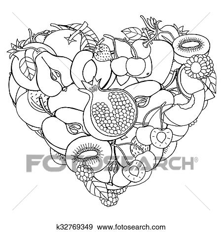 Stock Illustration Of Heart From Healthy Fruit And Berry K32769349