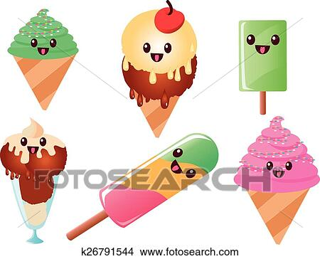 clipart of kawaii ice cream and popsicles k26791544 search clip