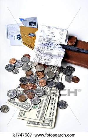 Money Cards Checkbook Receipt Stock Photo K1747687 Fotosearch