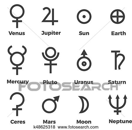 Clip Art Of Solar System Planets Icons Set Symbols K48625318