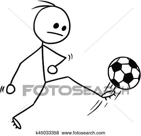 clip art of vector stickman cartoon of soccer football player rh fotosearch com football player cartoon clipart cartoon football field clipart