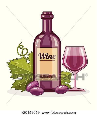 Vin rouge, bouteille, et, entiers, verre, gobelet, de, boisson Clipart