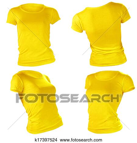 Stock Photo Of Womens Blank Yellow T Shirt Template K17397524