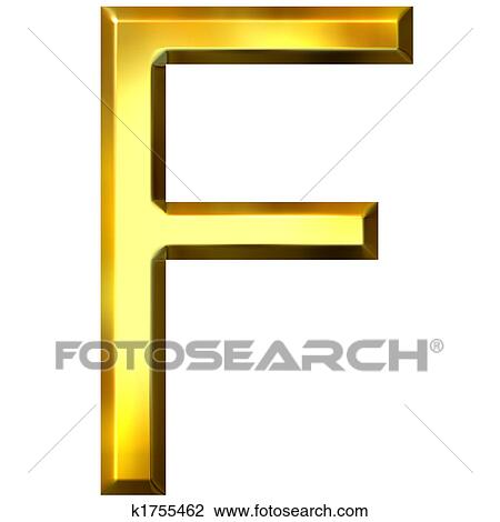 clip art of 3d golden letter f k1755462 search clipart rh fotosearch com  clipart of letter f