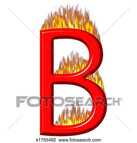 3D Letter B on Fire Drawing