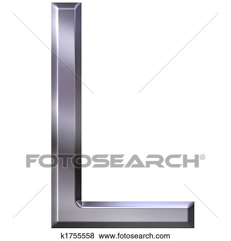 3d silver letter l stock illustration k1755558 fotosearch fotosearch