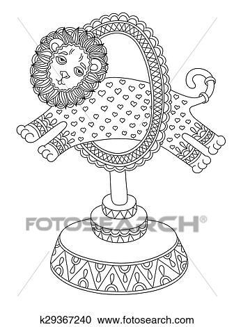 Clipart - arte de línea, ilustración, de, circo, tema, -, un, león ...