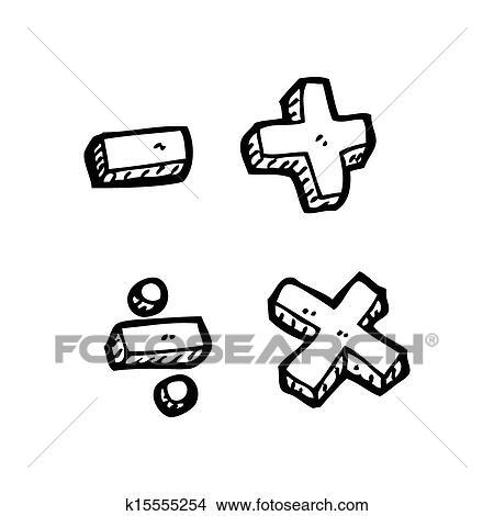 Drawings Of Cartoon Math Symbols K15555254 Search Clip Art