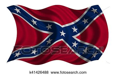 stock illustration of confederate rebel flag waving on white