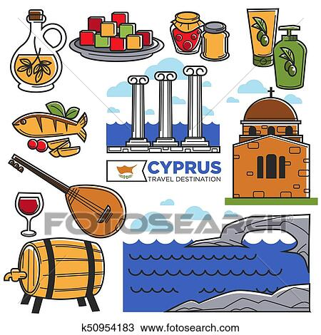 Clipart Of Cyprus Travel Landmarks Symbols And Tourist Sightseeing