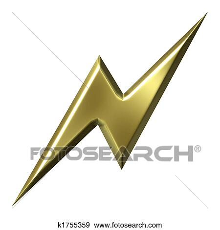 Stock Illustration Of Golden Thunderbolt K1755359 Search Vector