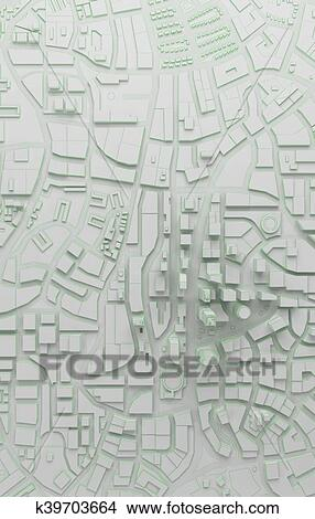 Low poly city top view  3d rendering Stock Illustration