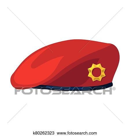 Military beret vector icon. Cartoon vector icon isolated ...
