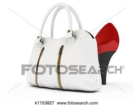 Red Shoes And White Handbag On Background
