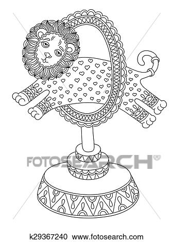 Strichzeichnung Abbildung Von Zirkus Thema A Löwe Sprünge Durch Clipart