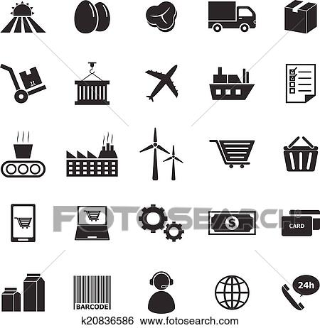 Clip Art Of Supply Chain Icons On White Background K20836586