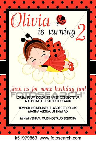 clipart vector birthday card template with cute little girl fotosearch search clip art