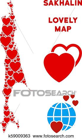 Vector Romantic Sakhalin Island Map Collage of Hearts ...