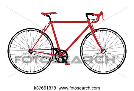 Clip Art Of Classic Town Road Singlespeed Bicycle Detailed Vector