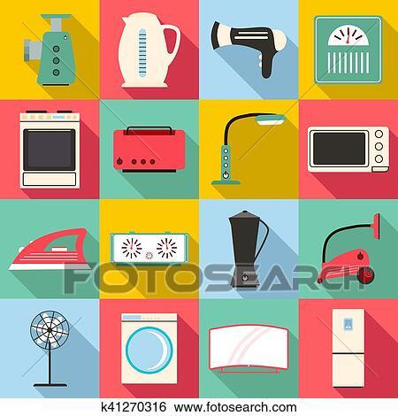Archivio illustrazioni elettrodomestici icone set - Immagini di elettrodomestici ...