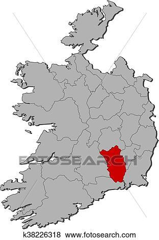 Map Of Ireland Showing Kilkenny.Map Ireland Kilkenny Clip Art K38226318 Fotosearch