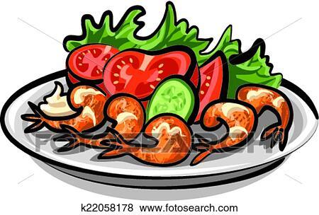 clip art of salad with shrimps k22058178 search clipart rh fotosearch com Halibut Clip Art Potato Salad Clip Art