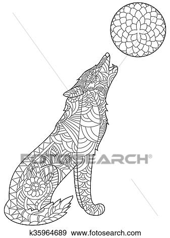 Wolf coloring vector for adults Clip Art