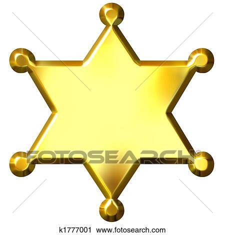 clipart of 3d golden sheriff s badge k1777001 search clip art rh fotosearch com Sheriff Badge Template Sheriff Star Clip Art